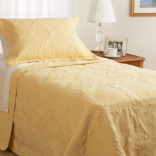 Twin Full Queen King Bed Solid Yellow Embroidered 3pc