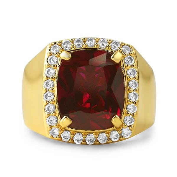 18k gold finish synthetic ruby mens cz ring made ebay