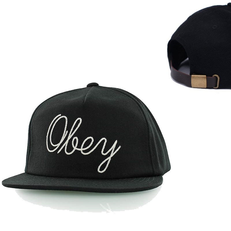 OBEY Cap Needle Black Strapback Hat FREE POST