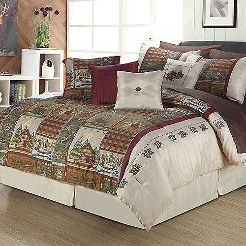 New Full Queen King Bed Bag 12pc Burgundy Lodge Cabin