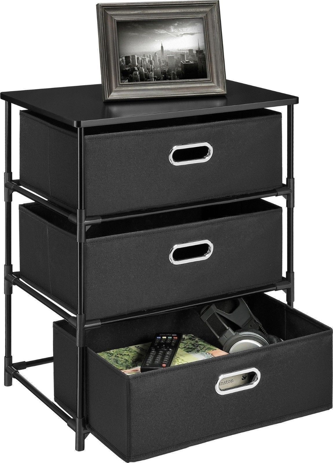 New 3 Or 4 Drawer Utility Cart Storage End Table Black
