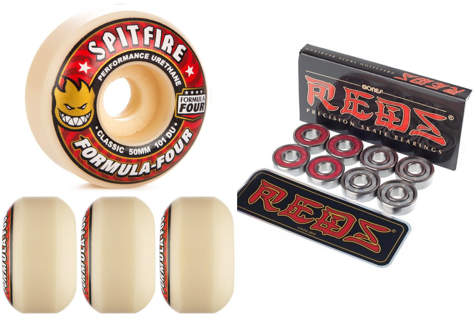 Spitfire Skateboard Wheels F4 Formula 4 Four Red 50mm 101d Classic with Bones Reds Bearings new FREE POST