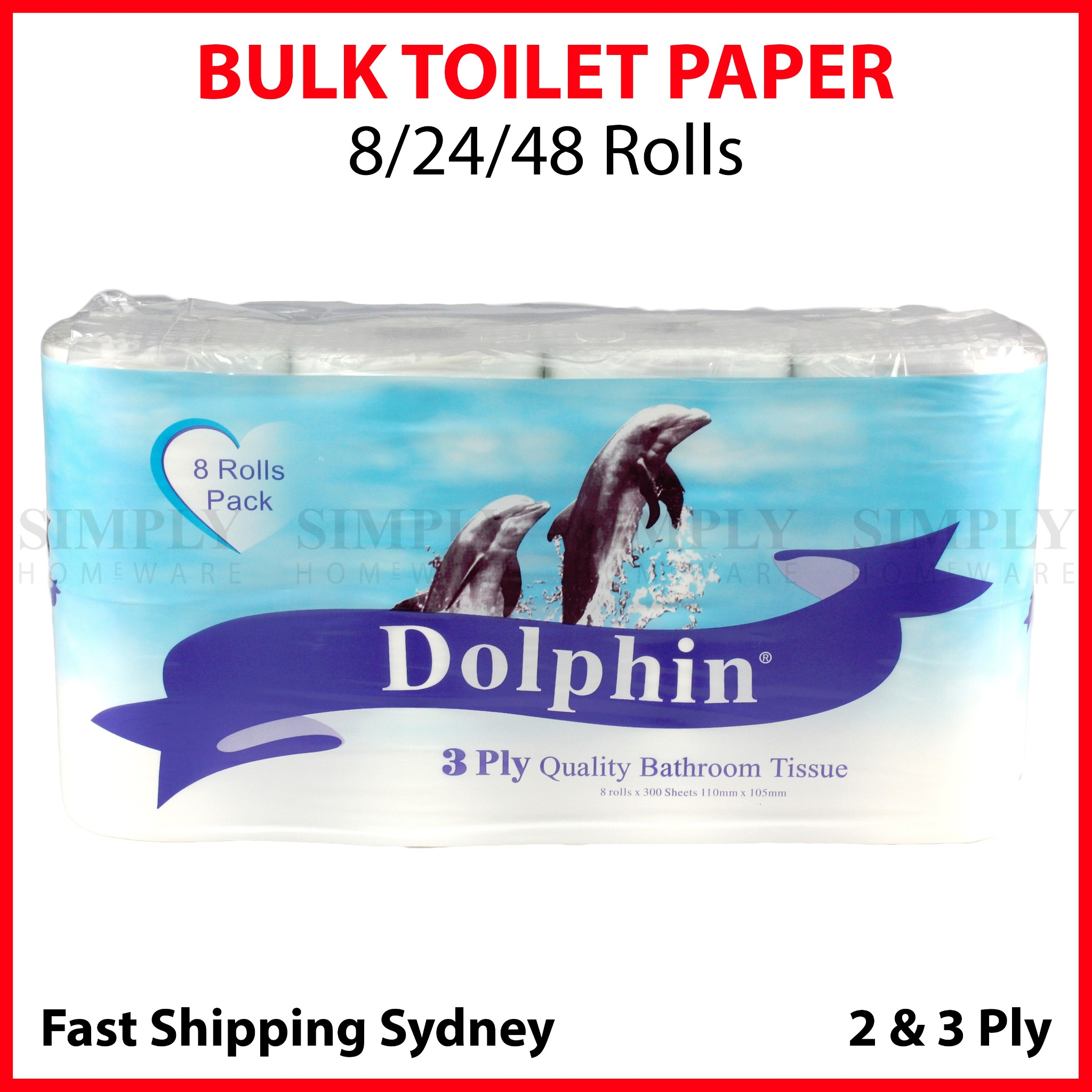 Toilet Paper Bulk 48 Rolls Bathroom White Soft 2 & 3 Ply Roll