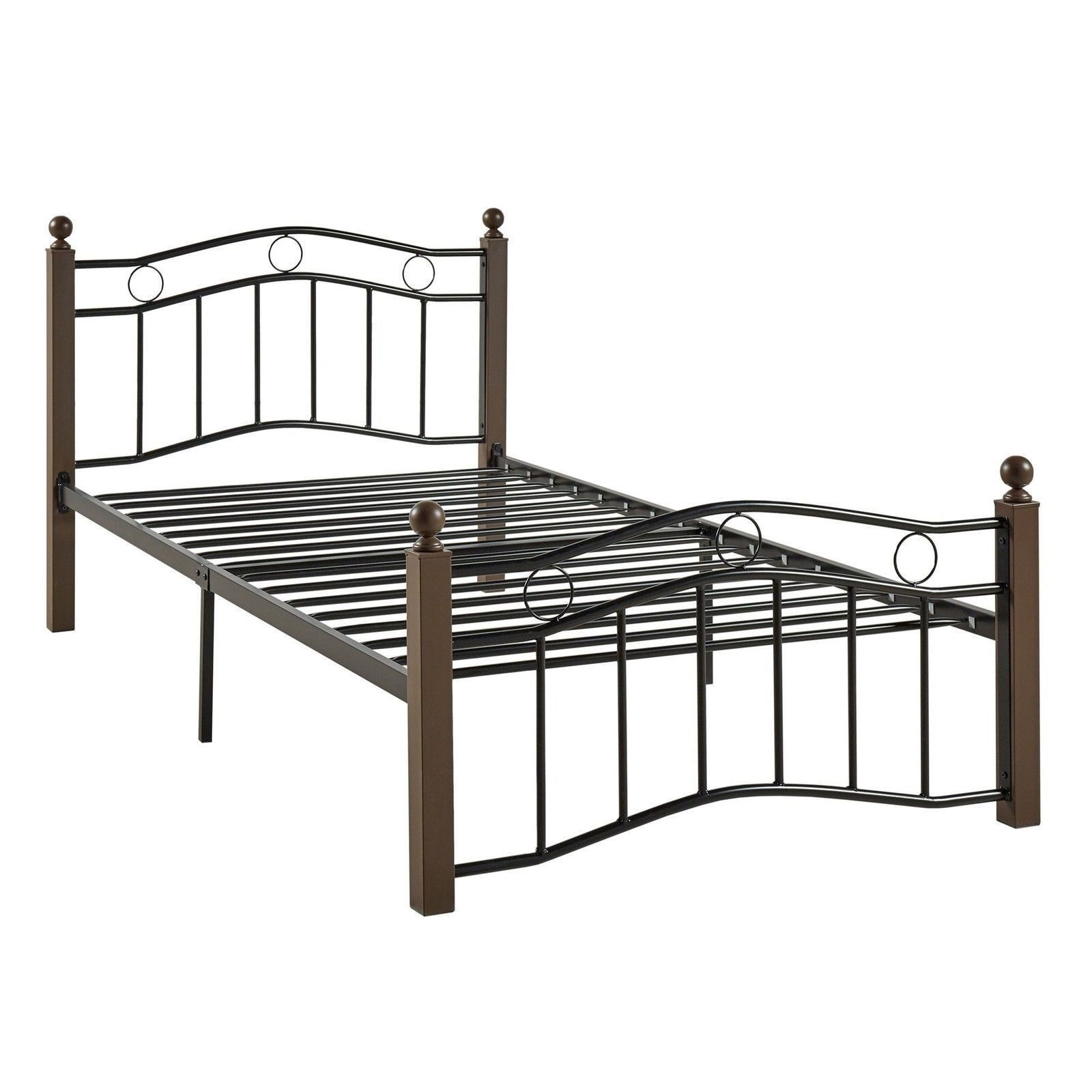 New twin black brown metal mattress foundation bed frame for Twin footboard