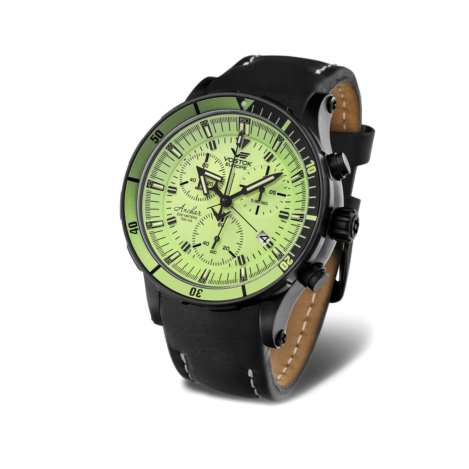 Vostok europe anchar submarine chrono black black watch 6s30 5104243 ebay for Vostok europe watches