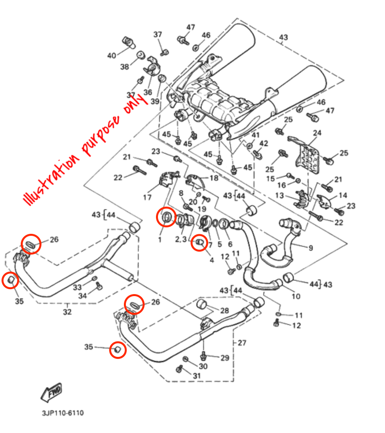 exhaust manifold gasket repair set yamaha v max 1200 1988 2007 please note that the parts diagram can look a bit different depending on which year your v max is produced however yamaha have been using the same gaskets