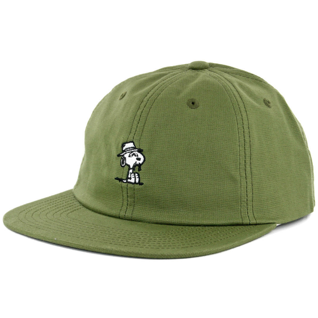 HUF x Peanuts Cap Spike Olive 6 Panel Unstructured Strapback Skateboard Hat FREE POST