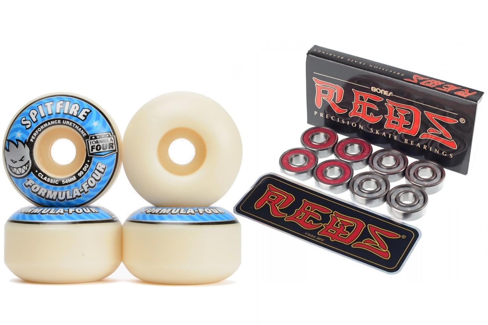 Spitfire Skateboard Wheels Blue 54mm Classic Formula 4 f4 four with Bones Reds Bearings new FREE POST
