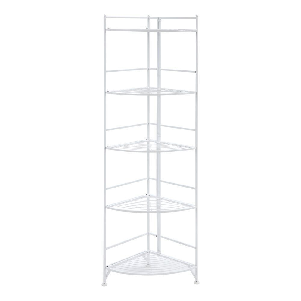 new white metal corner etagere 5 shelf folding stand home decor display storage ebay. Black Bedroom Furniture Sets. Home Design Ideas