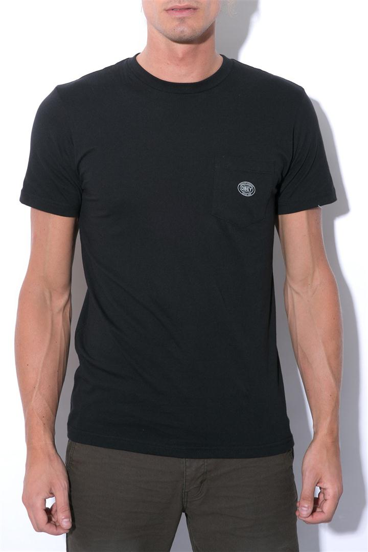 OBEY Tee Worldwide Label Pocket Black FREE POST New Mens Skateboard T-Shirt kingpin skate supply