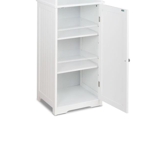 white storage cupboard tall display shelf bathroom laundry cabinet new