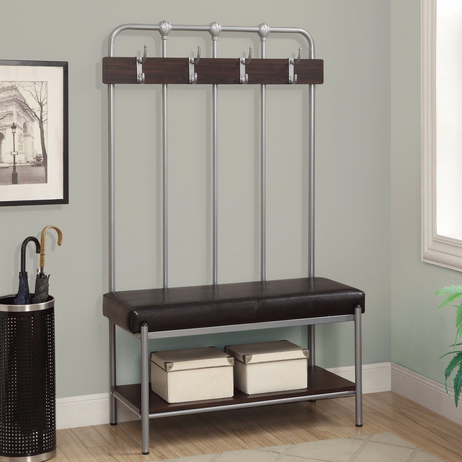New Hall Tree Bench Coat Rack Entry Way Mud Room Metal Seat Storage Silver Brown Ebay
