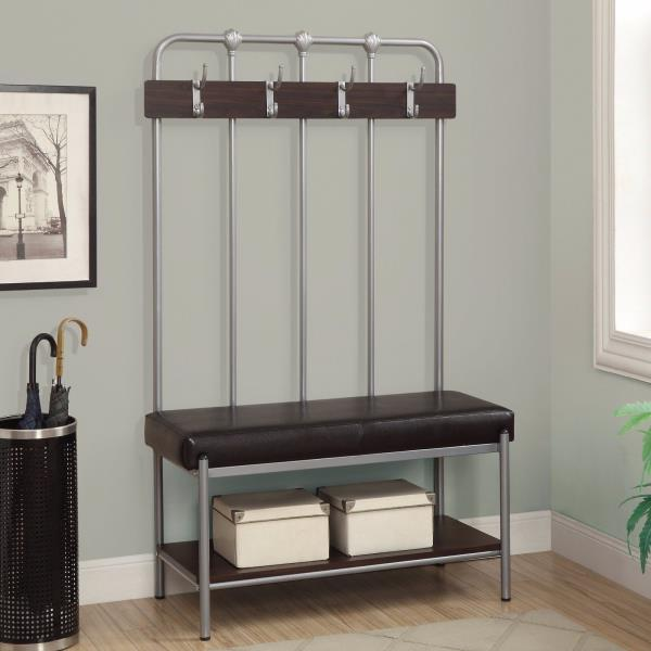 New Hall Tree Bench Coat Rack Entry Way Mud Room Metal