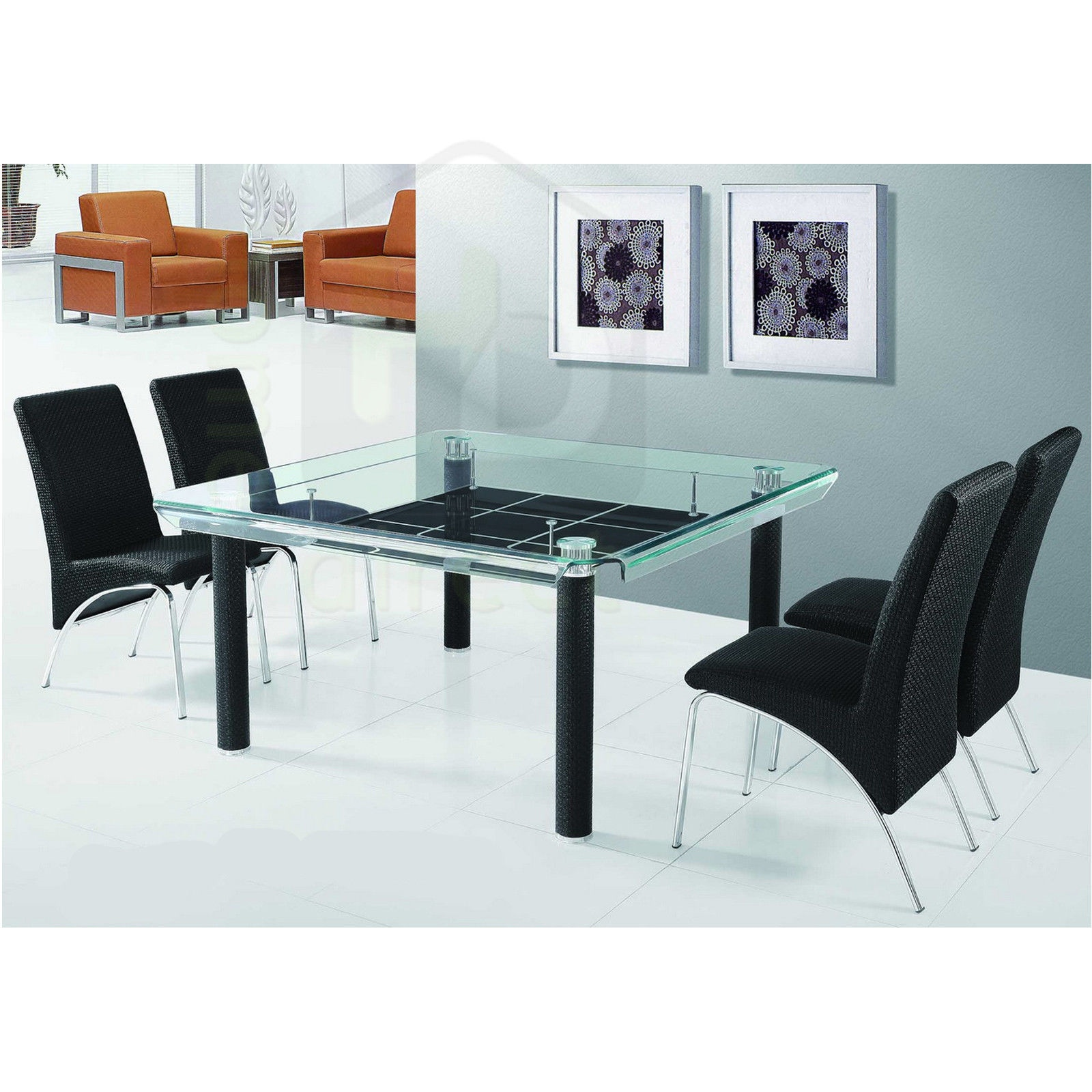 Www Modern Furniture: 150cm 1500mm X 1500mm MODERN SQUARE GLASS DINING TABLE W