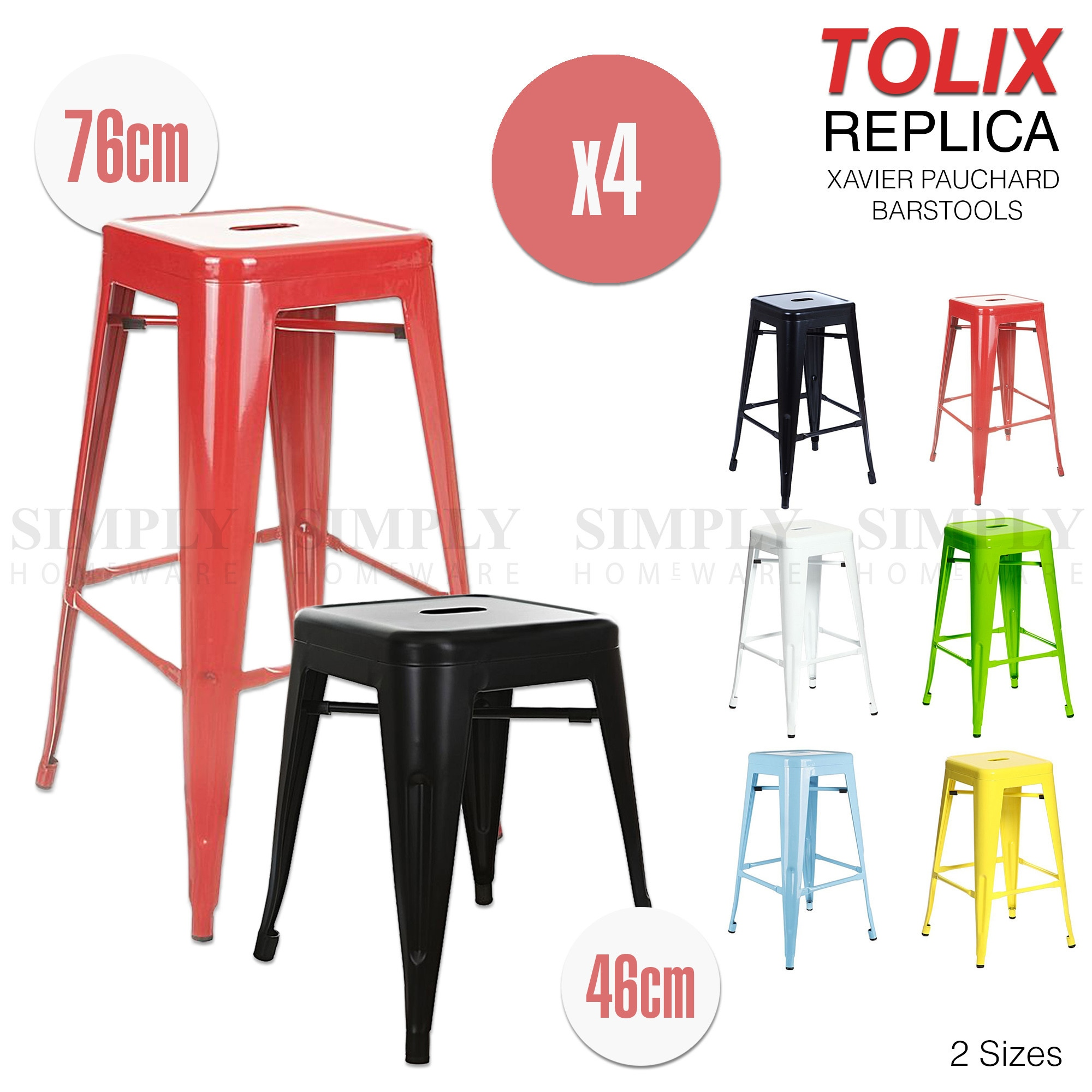 4x Replica Tolix Bar Stool Xavier Pauchard Metal Steel Kitchen Cafe Dining Chair