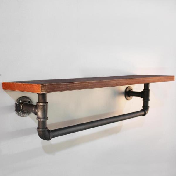 Wooden Rustic Industrial DIY Floating Metal Pipe Shelf