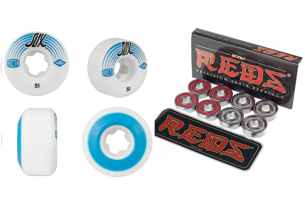 Ricta Wheels White 51mm SLIX 81b with free Bones Reds Bearings