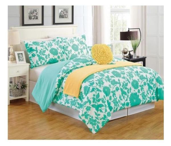 new bed bag twin full queen 5 pc turquoise yellow white floral comforter set nwt ebay. Black Bedroom Furniture Sets. Home Design Ideas