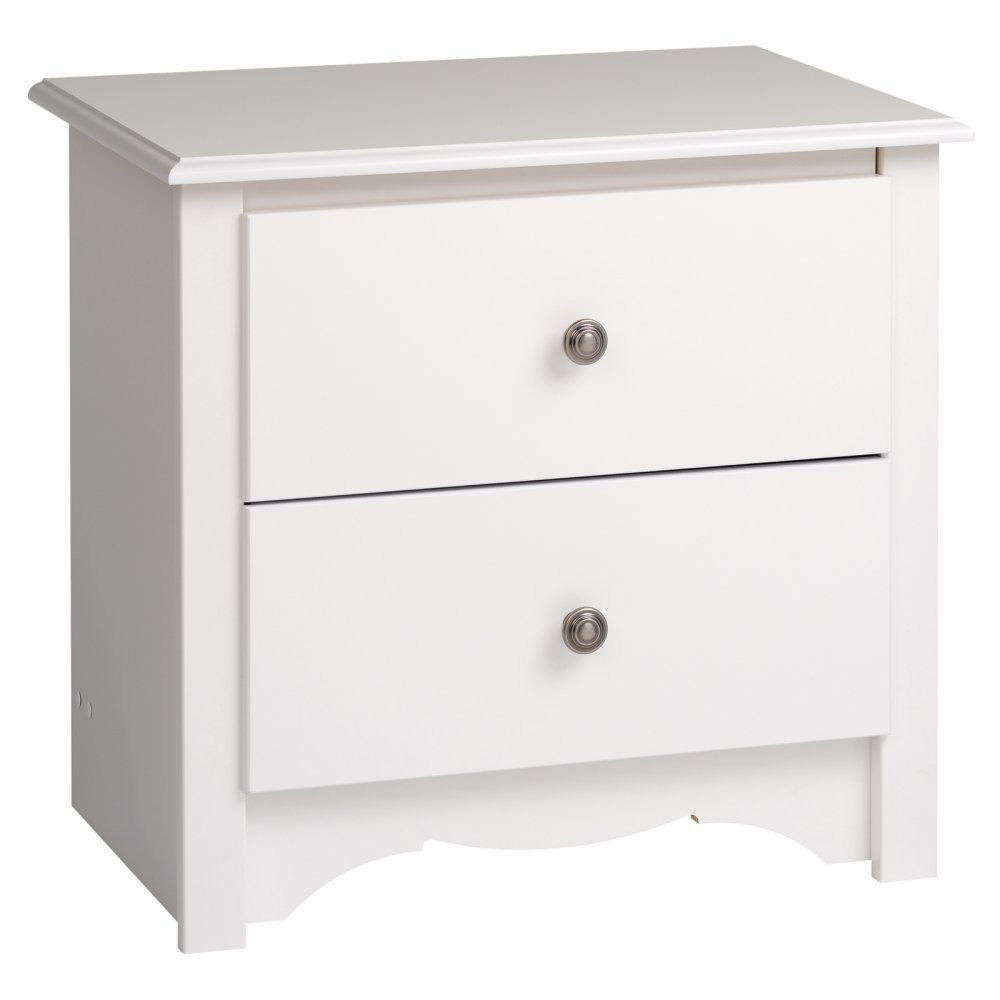 White finish nightstand wooden bedside table 2 drawer end for White wood nightstand