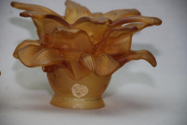 Set Of 3 Rococo Frosted Amber Satin Art Glass Petal Flower