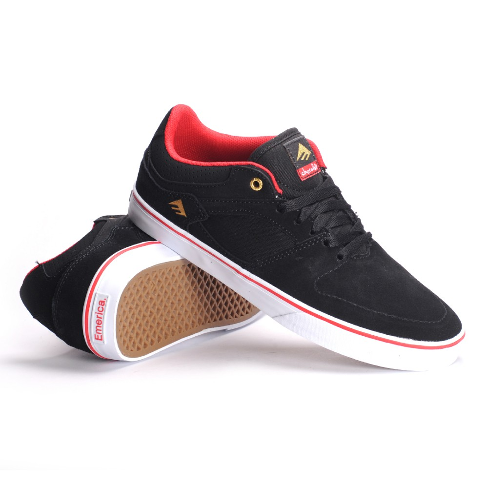 Emerica Shoes Hsu Low Vulc X Chocolate Black Red White New FREE POST Skateboard Sneakers