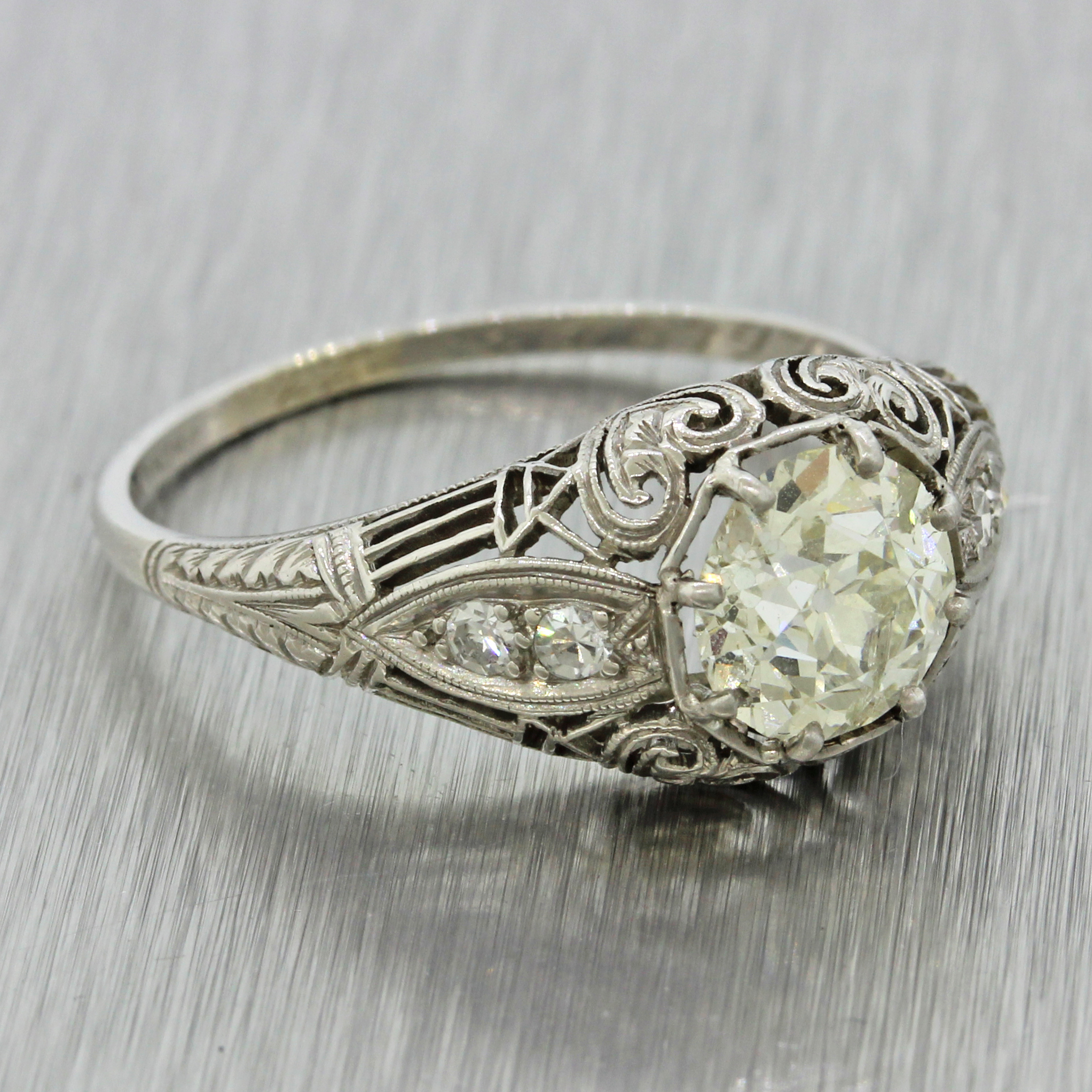 Antique Art Deco Filigree 1920s Platinum 1 37ct Diamond Engagement Ring $9300
