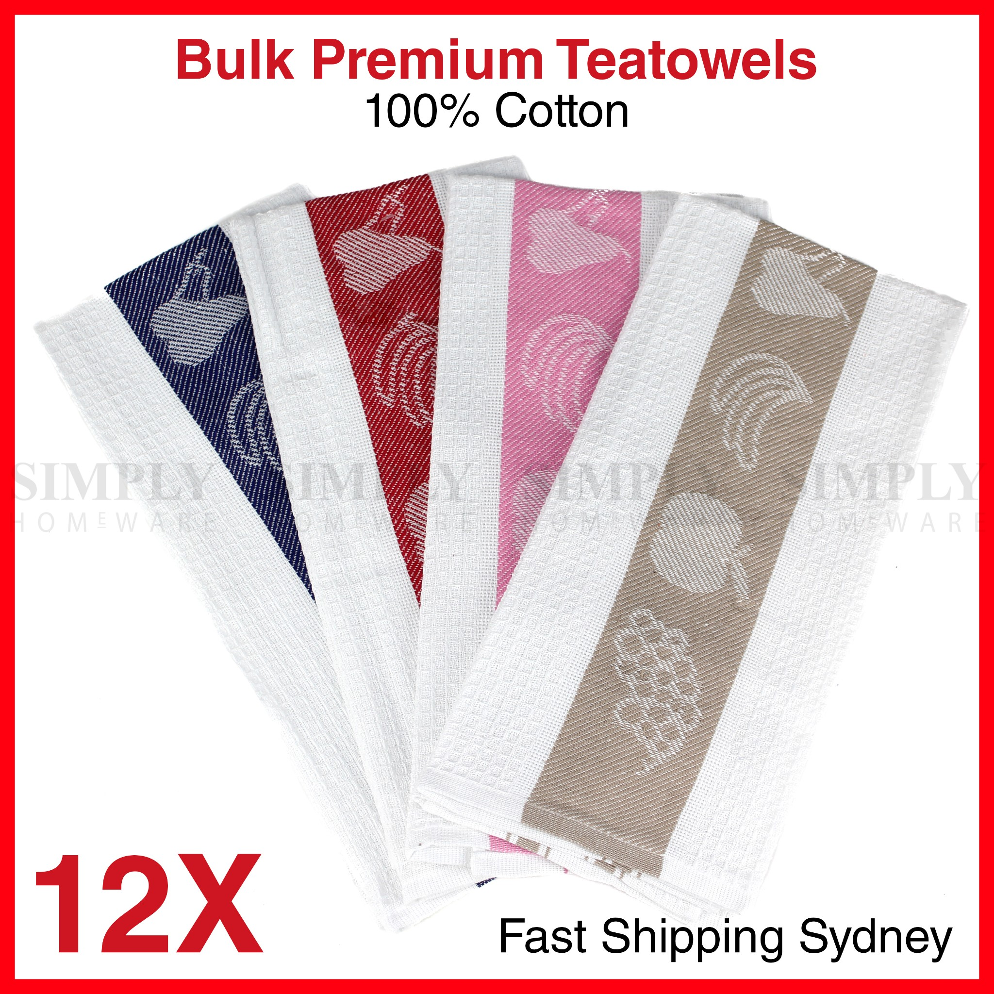 Tea Towels Bulk Hand Teatowel 100% Cotton Kitchen Linen Hotel 55 x 80cm 12 Pack