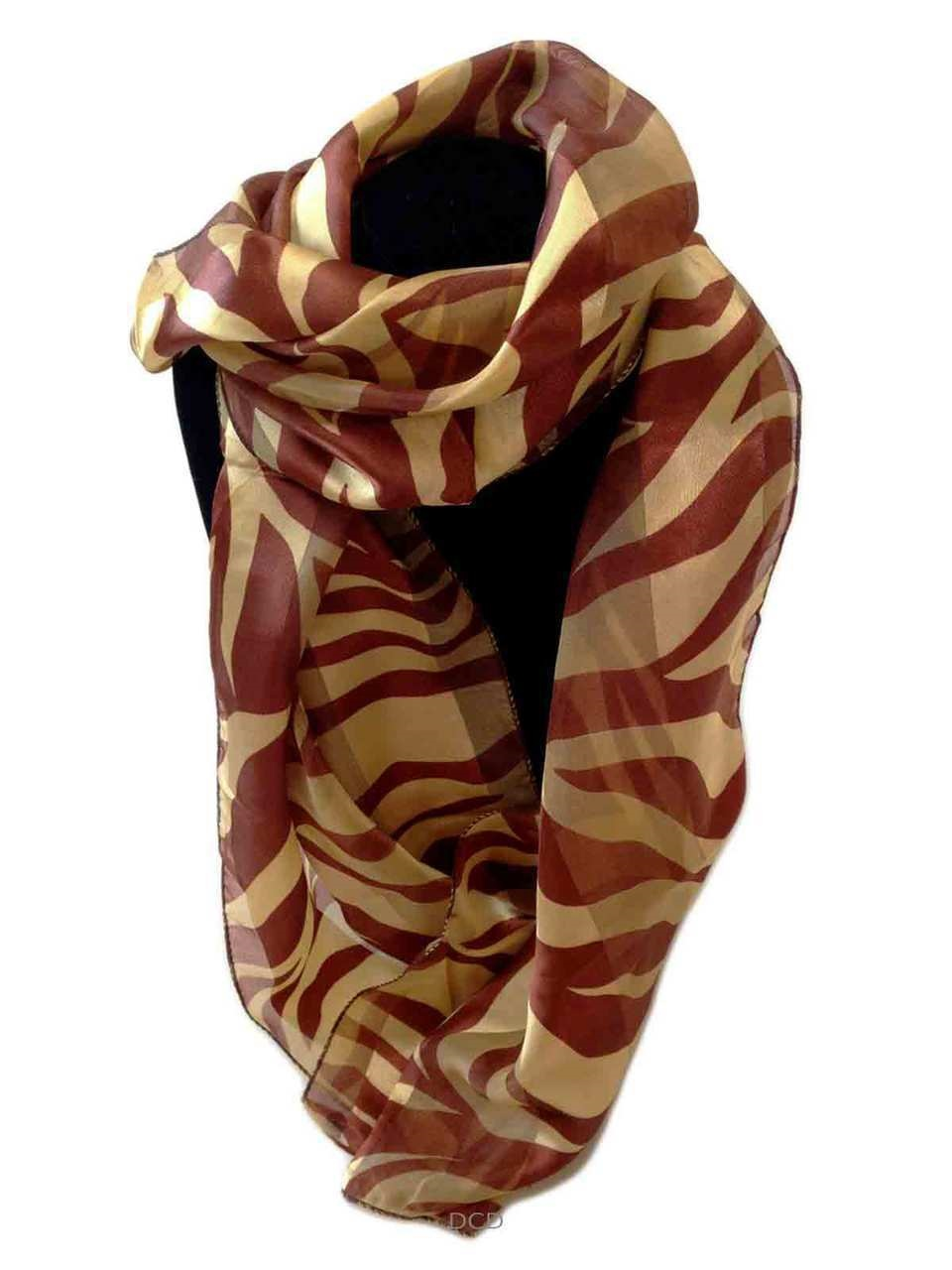 womens scarf bronze gold animal print chiffon soft scarves