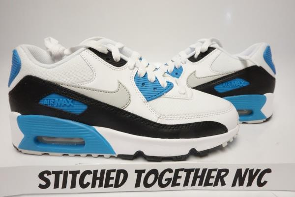nike air max 90 black with blue stitching