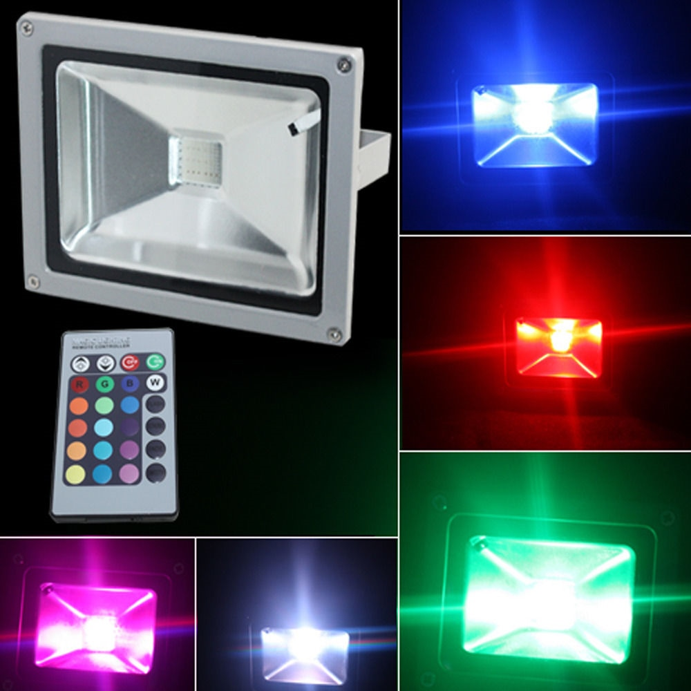 10w 110v 240v led rgb color spotlight flood light remote. Black Bedroom Furniture Sets. Home Design Ideas