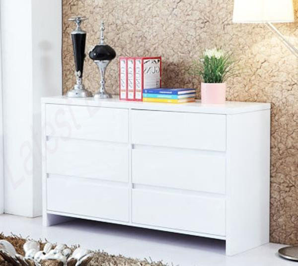 High Gloss Bedroom Cupboards Lemon Bedroom Accessories Toddler Bedroom Curtains Black And White Bedroom Cupboard Designs: High Gloss White Dresser 6 Chest Of Drawers Table Cabinet