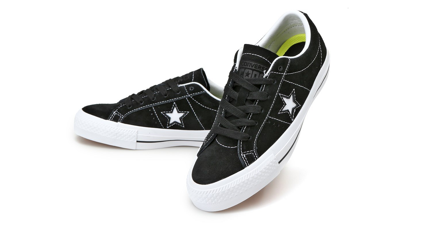 Cons Shoes One Star Black White Black Suede Converse Skateboard Sneakers