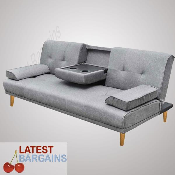 Faux linen fabric sofa bed couch lounge chaise 3 seater for 3 seater chaise sofa bed