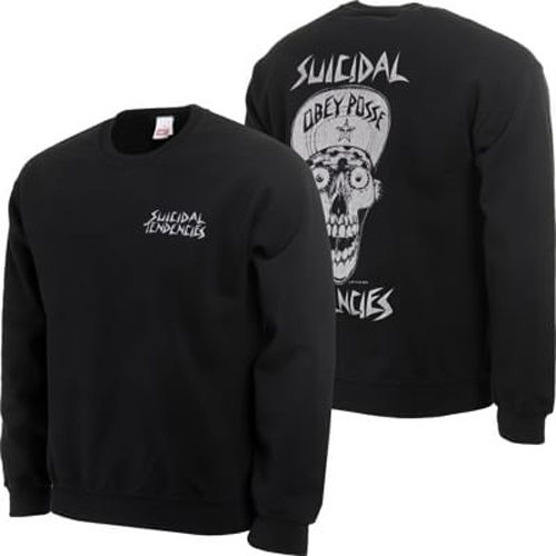 OBEY Crew Flip Cap Skull Black Suicidal Tendencies Jumper Skateboard Pullover Sweater Pullover FREE POST