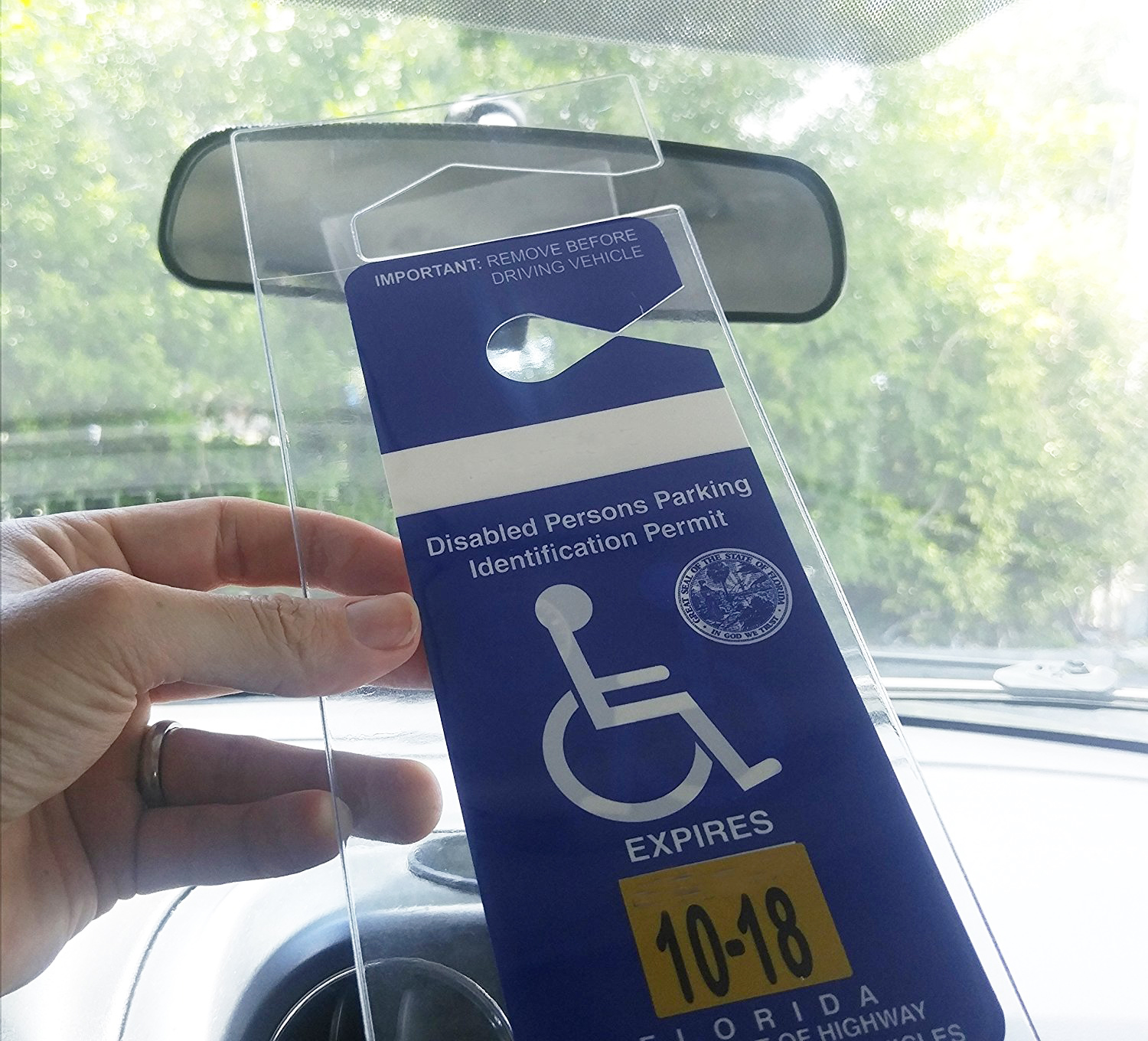 Handicap Parking Placard Holder Rear View Mirror
