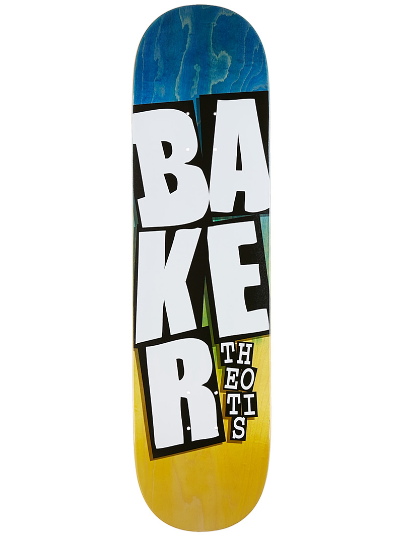 Baker Skateboards Deck Theotis 8.3875 Stacked Name Blue Yellow FREE GRIP and Post new