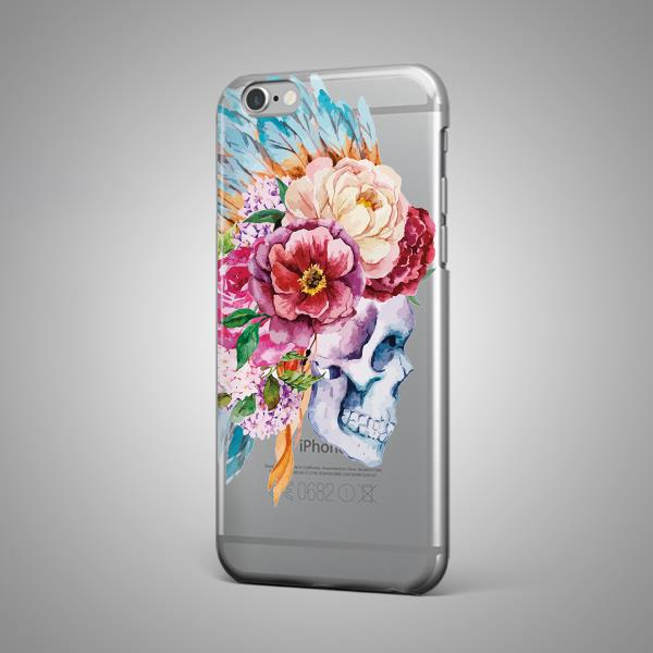skull flowers floral feathers tpu silicone rubber clear