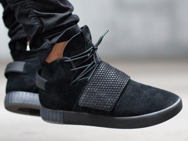 Adidas Tubular Invader Strap Black Suede Juniors Women's Girls Boys