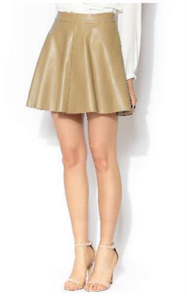 NWT! OLIVACEOUS VEGAN LEATHER FLARE SKATER SKIRT in KHAKI/BEIGE ...