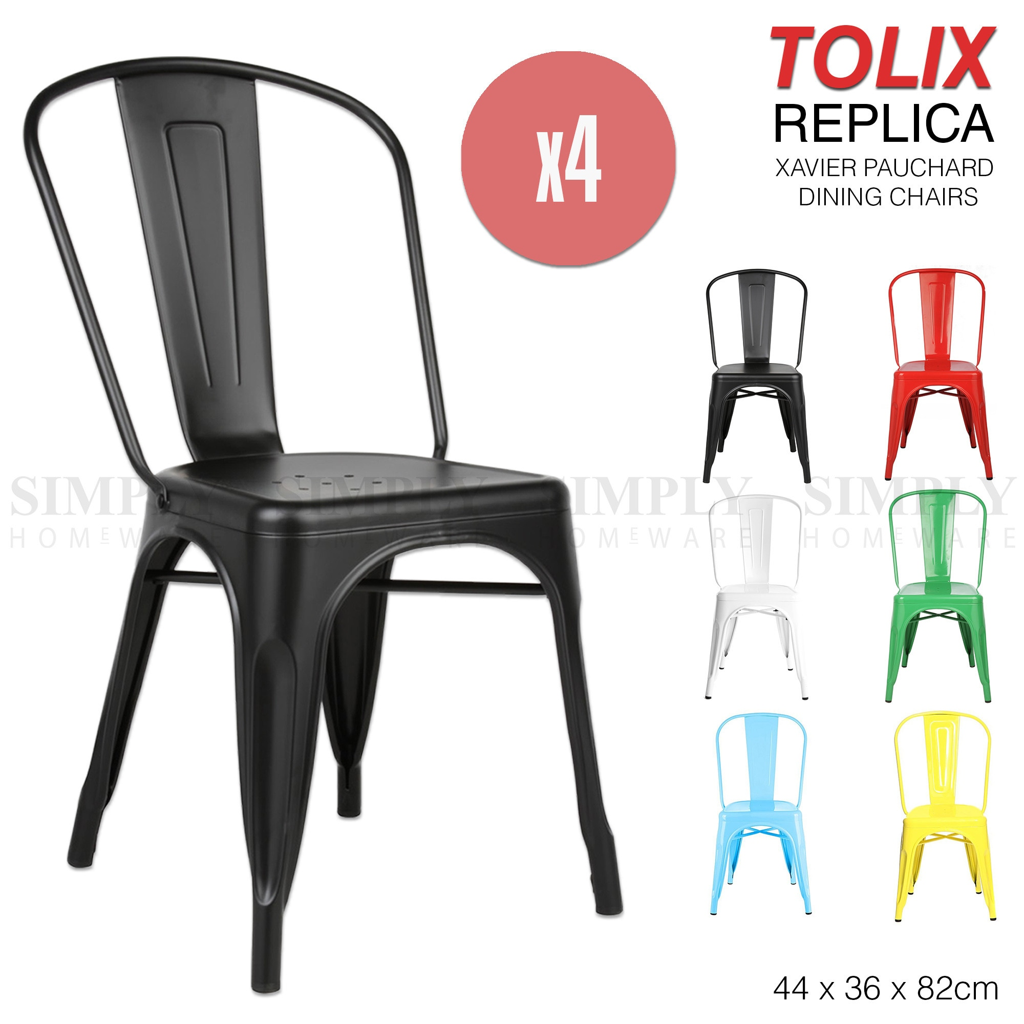 4 x Replica Tolix Chairs Xavier Pauchard Dining Steel Industrial Bar Stool Metal