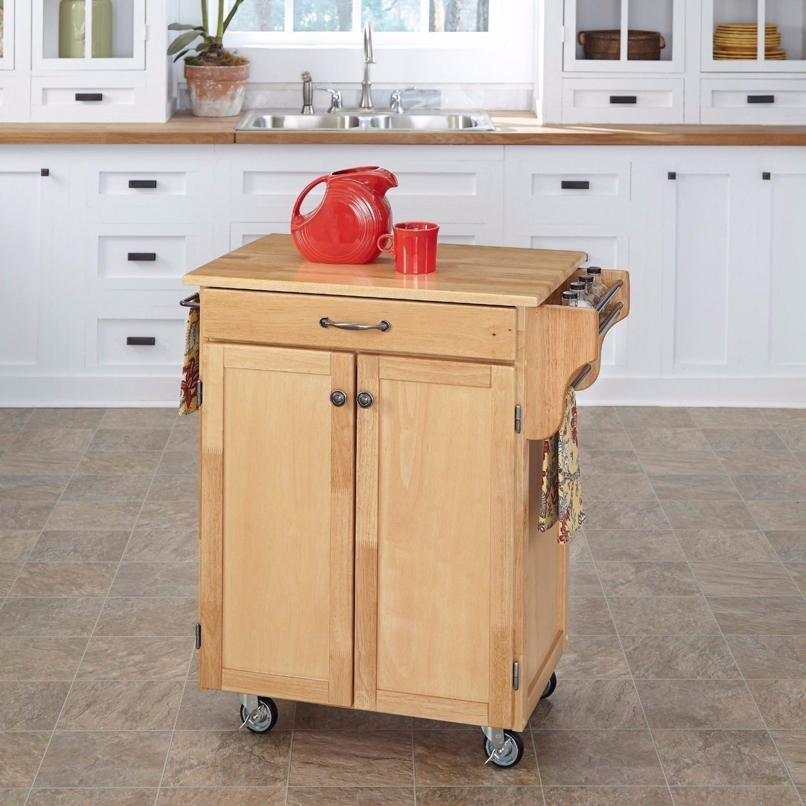 Kitchen Trolley Butcher Block : NEW Wood Kitchen Trolley Cart Island Butcher Block Cutting Board Table Natural eBay