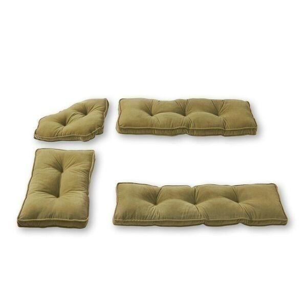 NEW Breakfast Bar Nook Dining Set Corner Bench Booth 4 Pc Cushion Set Moss Green