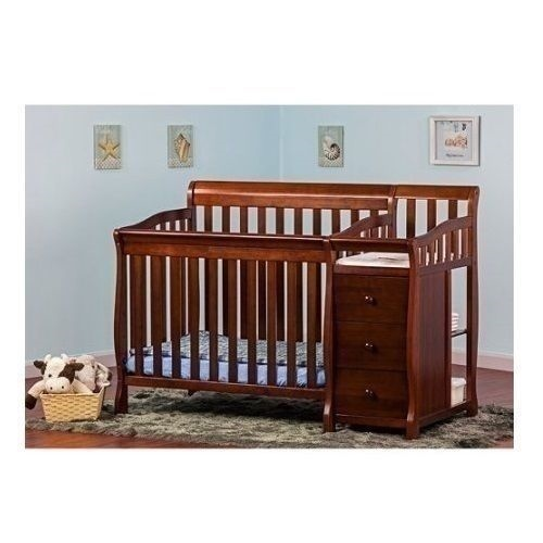espresso mini convertible 4 in 1 crib bed changing table baby toddler pine wood ebay. Black Bedroom Furniture Sets. Home Design Ideas