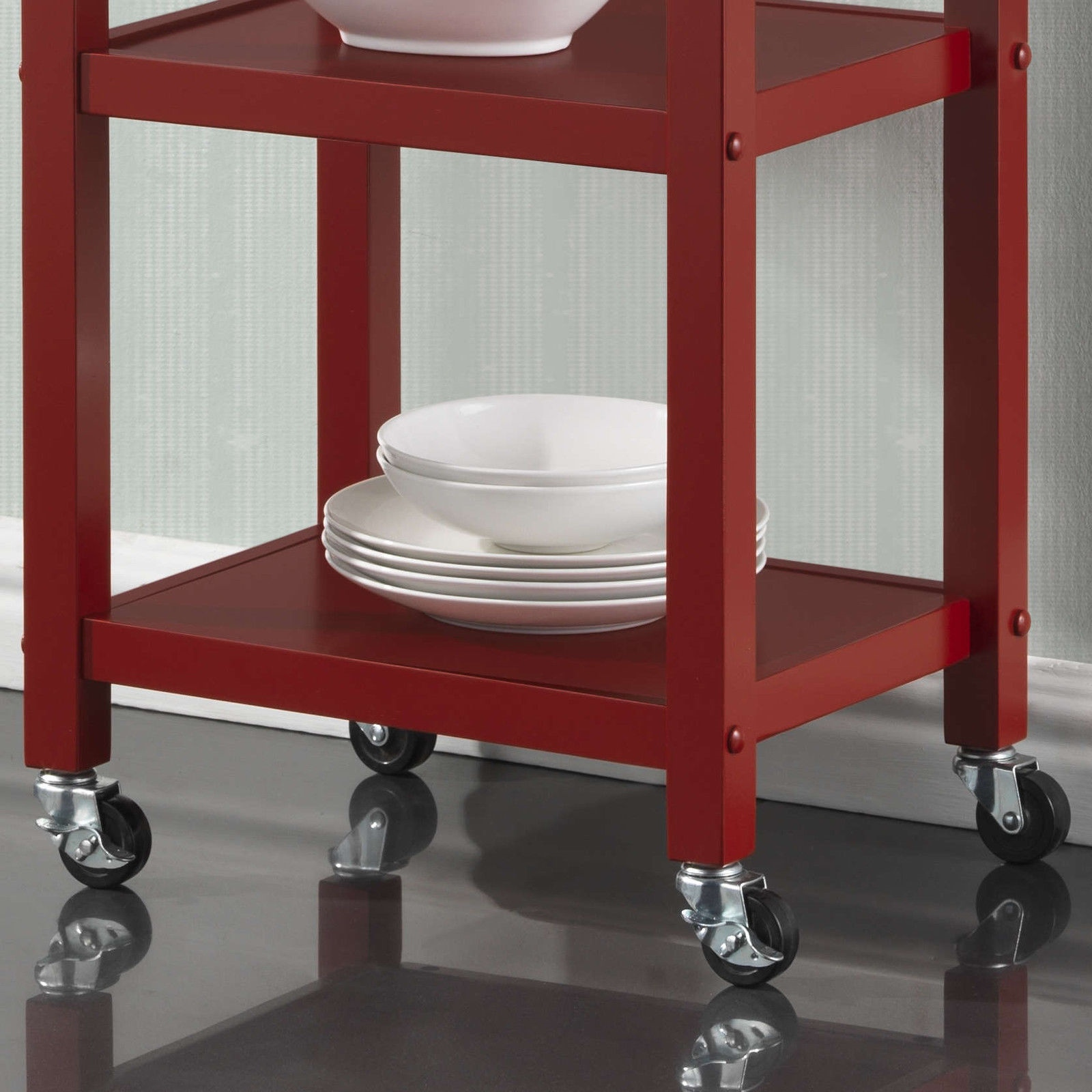 New Red Black White Wooden Rolling Kitchen Cart Island