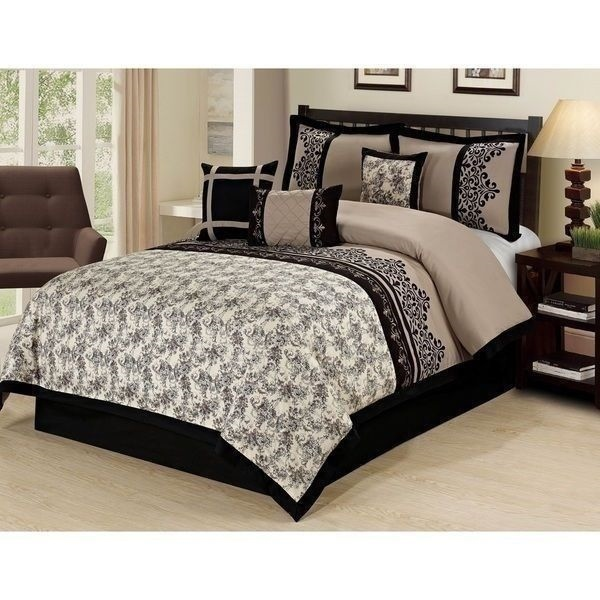 NEW Queen King Bed Beige Black Tan Embroidered Floral
