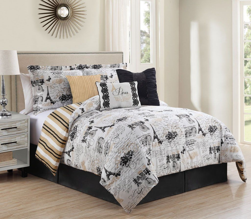 Bed sheet set black and white - Queen Cal King Bed Black White Tan Paris French Newspaper 7 Pc Comforter Set