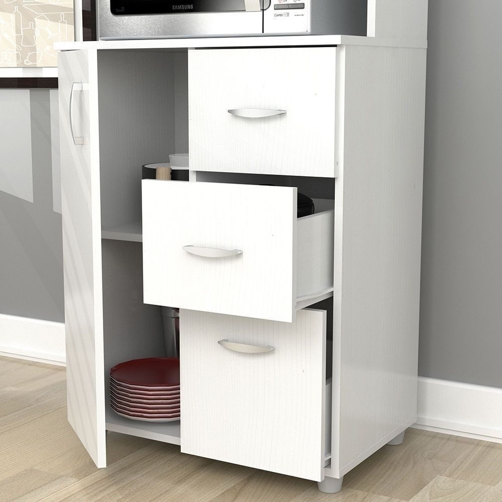 NEW Tall Kitchen Microwave Cart White Utility Cabinet Storage ...