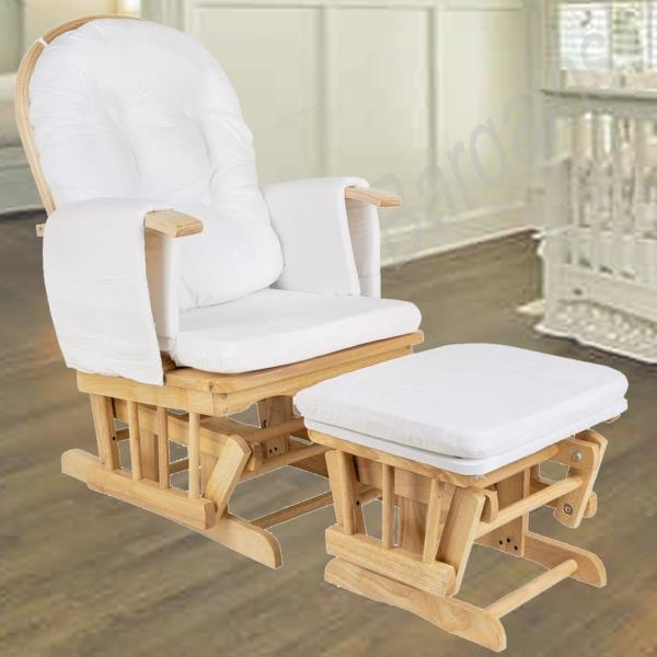 Wooden Glider Breast Feeding Rocking Chair with Ottoman - Natural Wood
