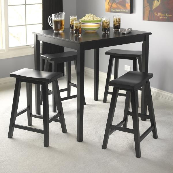 Counter Height Nook Table : NEW Wooden Counter Height Table 4 Stools Breakfast Bar Nook Dining Pub ...