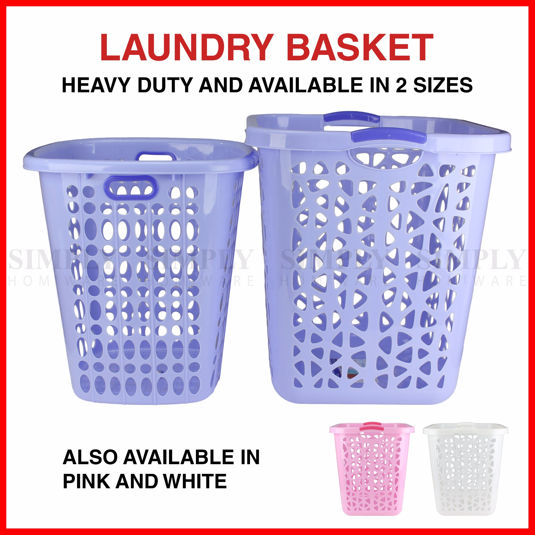 Laundry Basket Bin Bag Plastic Baskets Washing Hamper White Blue Pink